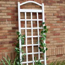 Garden Trellis Archway 6 Ft White Vinyl Garden Trellis With Arch Top With Ground Mount