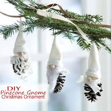 easy pinecone gnome ornaments tree kid craft