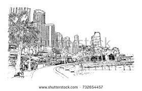 sketch darling harbour sydney australia vector stock vector