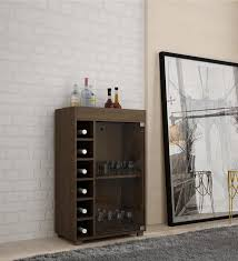 Open Bar Cabinet Buy Awamori Bar Cabinet With Glass Shutter In Brown Finish By