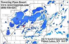ideal resort map towering pines resort pequot lakes minnesota clamshell lake