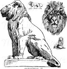 clipart of a digital group of vintage black and white lion