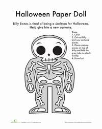 paper doll halloween costume worksheet education