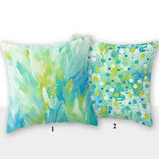 outdoor pillow cover green yellow turquoise blue decorative