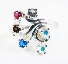 mothers ring 6 stones custom 6 s ring in sterling silver brilliant sparkles