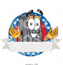 royalty free cartoon vector logo of a rubber car tire mascot