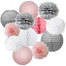 pink and gray baby shower light pink paper lanterns baby shower decorations 10 5