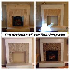 faux fireplace wood trim tile and an electric log my diy