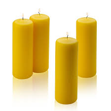 4 citronella scented pillar candles 2 inch wide x 6