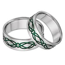 titanium wedding ring sets titanium celtic wedding band ring set in green