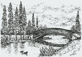 vector landscape bridge over river and poplars along the road