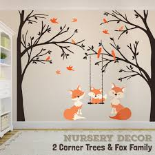 wall decal family fox baby swing trees corner woodland forest