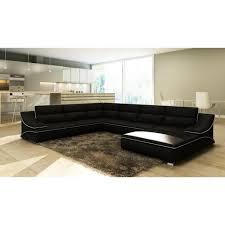 grand canap d angle cuir grand canapé d angle en cuir noir et blanc design achat vente
