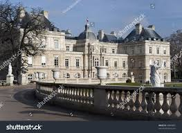 luxembourg garden palace view winter paris stock photo 49083607