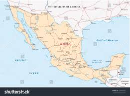 Gulf Of Mexico On Map by Mexico Road Map Stock Vector 154454429 Shutterstock