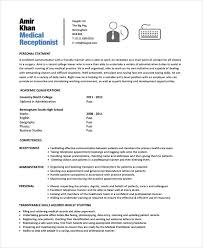 receptionist resume template receptionist resume template 8 free word pdf document