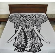 black and white elephant boho hippie bedding bedspread with pillow