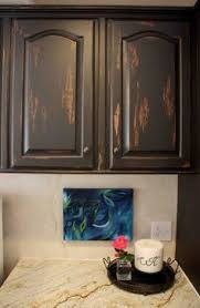Distressed Black Kitchen Cabinets by Beautiful Bedroom Makeover On A Budget Sprays Paint And
