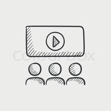 viewers watching motion picture at movie theatre sketch icon for