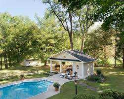 Pool Houses by This Charming Transitional Pool House Features A Unique Open