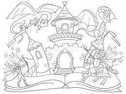 coloring fairy open book tale concept kids illustration evil