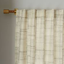mid century cotton canvas etched grid curtains set of 2 slate