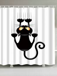 Snowman Shower Curtain Target by Cartoon Naughty Cat Printed Waterproof Shower Curtain White Black