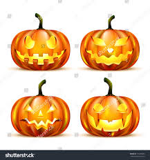 jack lantern pumpkins isolated on white stock vector 115665682