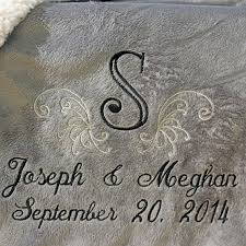 personalized wedding blanket personalized wedding embroidered throws and blankets custom