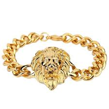 gold bracelet chains images Gold bracelet men hiphop lion head bracelet charms stainless steel jpg