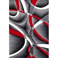 Red White And Black Rug Amazon Com 0327 Red Black Swirl White Area Rug Carpet 5x7 Modern