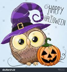 halloween illustration cartoon owl pumpkin on stock vector