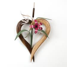 wood flowers wooden heart flower arrangement