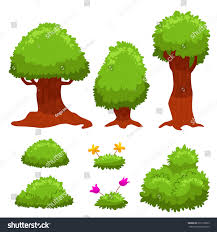 vector set trees bushes mobile stock vector 392118823