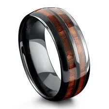 black opal mens ring barrel ceramic koa wood ring unique mens rings ring crafts and ring