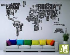 world map with country names contemporary wall decal sticker typography world map country names world map by homeartstickers