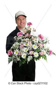free flower delivery flower delivery vertical a delivery bringing flowers stock