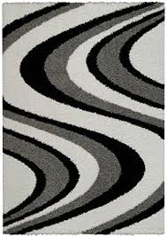 Decorative Rugs For Living Room Amazon Com Soft Shag Area Rug 5x7 Swirl Striped Black Grey Shaggy