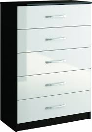 Shiny Black Bedroom Furniture Birlea Lynx 5 Drawer Chest High Gloss Black And White Amazon
