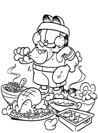 garfield eating junk food not healthy coloring pages garfield