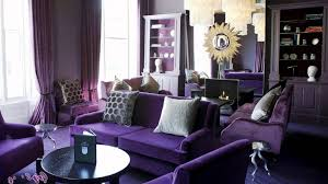 awesome living room art deco interior design with purple themed