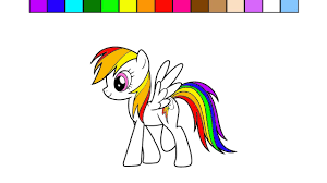 learn colors my little pony rainbow dash coloring page game for