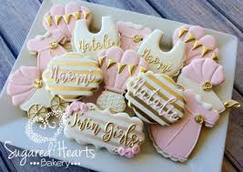 baby shower cookies gold and pink baby shower cookies 1 dozen
