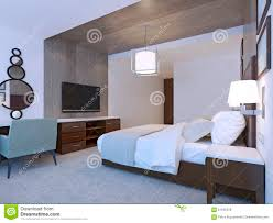 dressing table with chair and mirror in modern hotel room stock