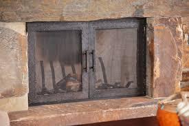 fireplace screen with glass doors wonderfull rustic fireplace screens with doors designs rustic