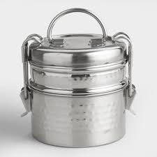 storage containers jars canisters world market hammered metal tiffin lunch box