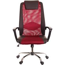 brown u0026 red mesh and leather task office chair with headrest by