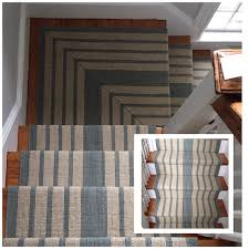 Stair Landing Rug Spectacular Seaglass Stripe Stairs Installed Dash And Albert Wool