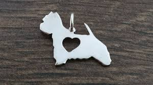 westie west highland terrier with charm silhouette solid