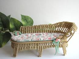 Wicker Chaise Lounge Country Cottage Chic Wicker Chaise Lounge 1 12 Miniature Dollhouse